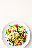 Pearl barley, grape and poached chicken salad