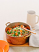 Pearl barley and rocket risotto with pumpkin