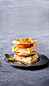 Filo stacks with pineapple and ice-cream