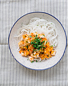 Radish noodles with fish bolognese