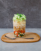Rice noodles with tuna fish in a glass