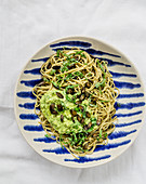 Edamame noodles with avocado and ginger pesto