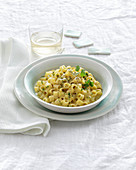 Pasta with a creamy cheese and egg sauce