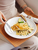 Pan-fried fish with almond rice pilaf