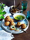 Chicken Kiev balls with tarragon garlic butter (1970s)