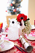 Christmas table decoration with anemone flowers