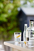Gin and tonic on a garden table