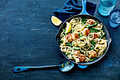 Salmon polpette with herb linguine