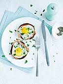 Portobello mushrooms with fried eggs
