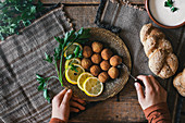 Falafel with lemon slices