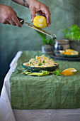Spaghetti with lemon and wild garlic