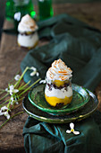 Trifle with lemon curd and a meringue top