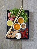 Ingredients for yellow curry paste