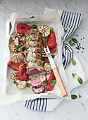Roast lamb with goat's cheese and peppermint