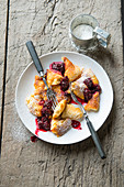 Shredded pancake with blackberry compote