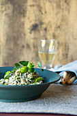 Barley risotto with herbs and cheese