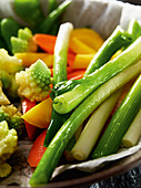 Steamed young vegetables (close-up)