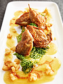 Roast quail with an apple curry vinaigrette