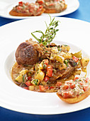 Light ossobuco with capers and crostini