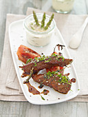 Caramelized duck fillets with an asparagus dip