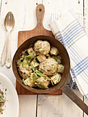 Königsberger Klopse (meatballs in white sauce with capers) with turnips and mangetout