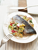 Miller trout with potato and radish salad