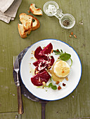 Beetroot carpaccio with warm goat's cheese