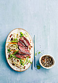Barbecue ginger beef with cold sesame noodle salad