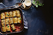 Moussaka roll-ups with lamb