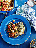 Pan-fried bream with fennel and chickpea bake