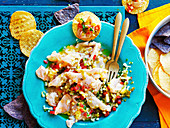 Snapper ceviche with pineapple salsa