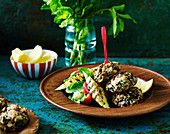 Brown Lentil patties with grilled cucumber salad
