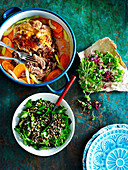 Slow-cooked lamb shoulder with lentil salad