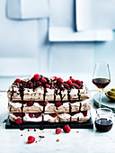 Chocolate raspberry meringue cake