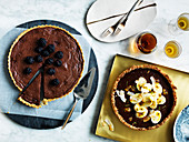 Chocolate coconut tart with passionfruit and bannana