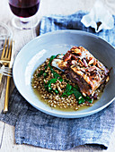 Lamb belly with pearl barley