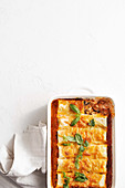 Vegetarian cannelloni with mushrooms, cauliflower and tomato sauce