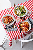 Fettuccine with mussel ragu and Grilled zucchini and mozzarella salad
