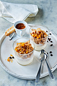 Espresso granita with yoghurt cream and a cantuccini orange topping