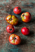 Several heirloom tomatoes