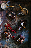 Brownies, coffee and red berries