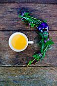 Teetasse und Frühlingsblumen