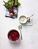 Ingredients for beetroot noodles with gorgonzola sauce