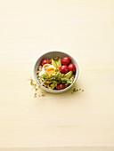 Avocado porridge with tomatoes and egg