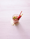 Oat smoothie with avocado and raspberries