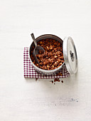 Chocolate granola with peanuts
