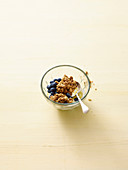 Lemon quark with blueberries and oat crumbles