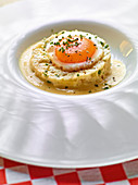Smoked parsnip mash with a fried egg and mustard butter sauce
