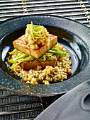 Cider tofu with barley and apple-ginger compote