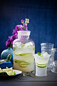 Lime Crush with rum, cucumber and mint